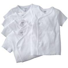 Carters Unisex Newborn-6 Months White Short Sleeve 5 Pack Side Snap Bodysuits - List price: $26.00 Price: $19.99