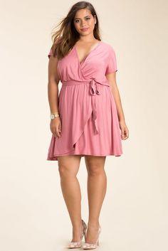 Plus Size Wrap A-Line Dress