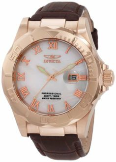 Invicta Men's 1713 Pro Diver Elegant Rose Gold-Tone Leather Watch Invicta. $99.99. Date Function with Magnified Window; White Mother of Pearl Dial with Rose Gold Tone Hands and Roman Numerals; Luminous; Unidirectional Bezel; Flame-Fusion Crystal; Brushed and Polished Rose Gold Ion-Plated Stainless Steel Case; Brown Leather Strap; Swiss Quartz Movement; Water-resistant to 330 feet (100 M). Save 83%!