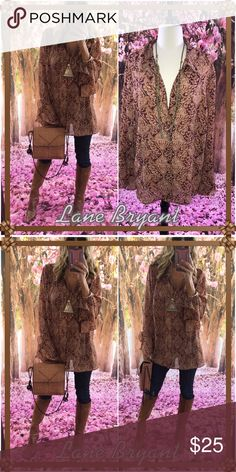 🥂LB🥂 Loose, flowing, paisley, brown sleek long top. I adore this vibe with clothes especially over my leggings as looks so effortlessly chic!. Besides I favor brown. This is not clipped on me for a loose pretty photo. Please check size chart for measurements needed. Lane Bryant Tops Blouses