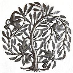Birds in the Nest Tree of Life Metal Hand Crafted Art Sculpture Wall Home Decor #itscactusmetalarthaiti #ArtDecoStyle