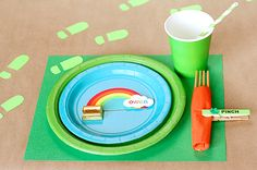 """St. Patrick's Day Place Setting.  I love the leprechaun foot prints and the """"Pinch"""" Clip."""