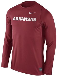 Rack up the points in elite Nike style with this men's Arkansas Razorbacks tee. PRODUCT FEATURES Team wordmark graphic Crewneck Long sleeves Polyester Machine wash Imported