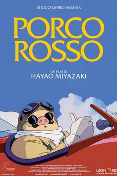 A fantastic poster for the Italian release of Hayao Miyazaki's Studio Ghibli animated movie Porco Rosso! (Poster text is in Italian. Check out the rest of our selection of Hayao Miyazaki posters! Need Poster Mounts. Hayao Miyazaki, Animated Movie Posters, Movie Poster Art, Animated Gif, Studio Ghibli Films, Film Manga, Cartoon Online, Animes Online, Watch Cartoons