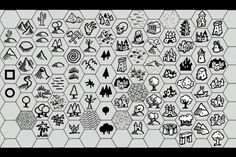 Fantasy map symbols, map making Drawing Tools, Line Drawing, Hex Map, Fantasy Map Making, Map Creator, Map Symbols, Map Marker, Pictures To Draw, 4k Pictures