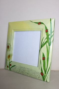 Daisies and Lady Birds Wooden Picture Frame Decoupage by Jurosihandmade