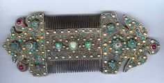 Encrusted comb, silver with micro mosaic turquoise, rubies  gilding. late 19th c Uzbekistan  Archives Singkiang