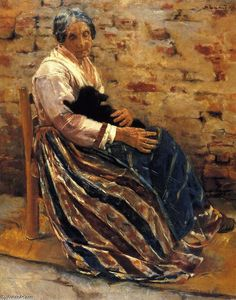 'Old Woman with Cat', Oil On Canvas by Max Liebermann (1847-1935, Germany)