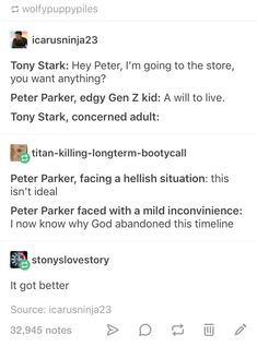 Peter, whenever someone trips and falls: Mood Tony: wtf do those words even mean? <<<< As an edgy Gen Z kid, I can confirm the accuracy of this. Avengers Memes, Marvel Memes, Marvel Dc Comics, Marvel Avengers, Marvel Universe, Shuri Black Panther, Def Not, Dc Memes, Fandoms