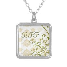golden pear damask bff charm necklace