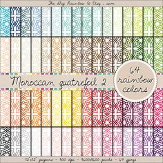 64 different rainbow quatrefoil mosaic digital papers ! Scrapbooking printable papers for crafts, journaling, party organization and decor or any DIY projects. 40% OFF!