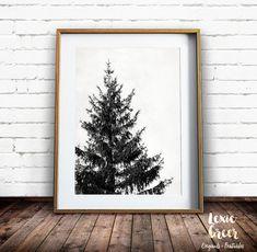 Tree Print Scandinavian Art Black and White Print by LexieGreerArt