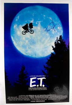 """""""E.T"""" movie poster signed by Steven Spielberg!"""