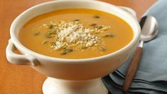 Roasted Butternut Squash Soup recipe and reviews - Savour the flavours of this roasted butternut squash soup.