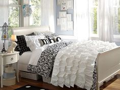 Black and white floral damask bedding
