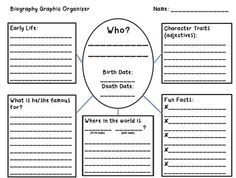 Biography Outline. This free reading activity has the students fill in key elements about the person they are reading about using the graphic organizer. This helps the students be sure to comprehend and record all the important detail in the text. This activity is intended for grades 2nd-6th but could be adapted to fit other grade levels. The students are asked to include why the person is famous, where they were, details about the person, and facts about the person.