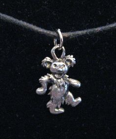 Silver Pewter Grateful Dead Bear Necklace Ships FREE. $5.00, via Etsy.