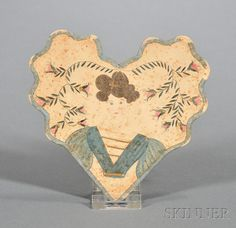 Early Valentine, America, 19th century, heart-shaped cut cardboard valentine trimmed with blue silk ribbon