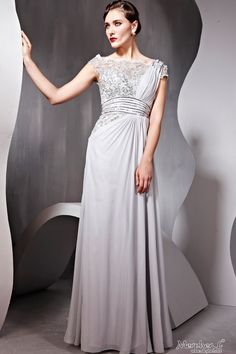 Fashion Ball Grey Cocktail Prom Chiffon Strap Beading Formal Long Evening Dress