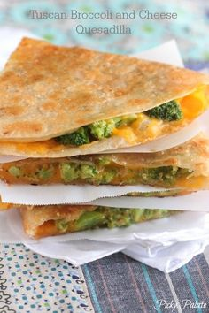 Tuscan Broccoli and Cheese Quesadilla, quick and simple weeknight dinner!