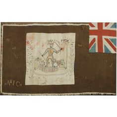 A FANTE ASAFO FLAG,GHANA depicting a Napoleonic figure, smaller figures and bird in tree all embroidered on a central white square panel, ag. African Flags, African Art, Union Jack, Ghana, Impressionist, Banners, Modern Art, Vintage World Maps, Applique