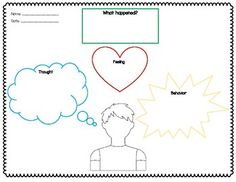 Thoughts, Feelings, & Behaviors Worksheet by The Compassionate Counselor Cbt Worksheets, Therapy Worksheets, Teacher Worksheets, Worksheets For Kids, Therapy Activities, Printable Worksheets, Play Therapy, Feelings Activities, Counseling Activities