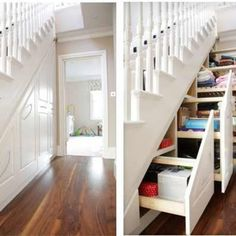 Perfect built in under stair storage with sliding drawers. Great to hide small and big items.