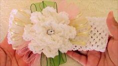 DIY  flores a crochet y diademas - flowers to crochet headbands with rib...