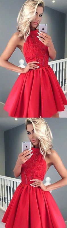 Red Prom Dresses, Short Prom Dresses, Lace Prom Dresses, Prom Dresses Short, Red Lace Prom dresses, Short Homecoming Dresses, Homecoming Dresses Short, Prom Dresses Lace, Red Lace dresses, Red Homecoming Dresses, Chic Red Homecoming Dress Satin Lace Short Prom Dress Party Dress