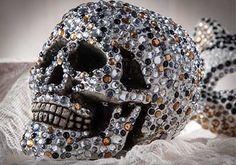 DIY Rhinestone Skull with Collage Clay and rhinestones