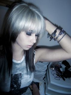 #black & #white #dyed #hair #pretty