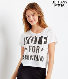 Vote For Beth Cropped Graphic T - Aeropostale Beth look!