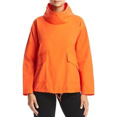 Eileen Fisher Pull-Over Jacket ($198) ❤ liked on Polyvore featuring outerwear, jackets, hot red, eileen fisher jacket, eileen fisher, orange jacket and red jacket