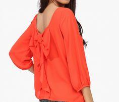 Europe And The Female Shirt Chiffon Loose Backless Chiffon Blouse-Orange