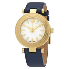 ce92f1e0432d Tory Burch Classic T Ivory Dial Ladies Navy Leather Watch TRB9001  navy   leather