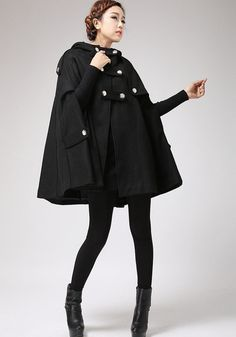 Black Cape winter hooded coat women cape coat 698 by xiaolizi