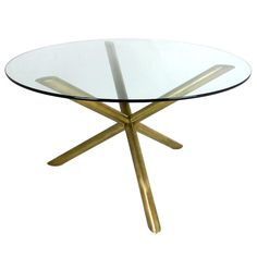 Italian Brass Tripod Dining Table | From a unique collection of antique and modern dining room tables at http://www.1stdibs.com/furniture/tables/dining-room-tables/