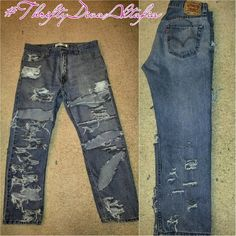 Destroyed Levis #ThriftyDivaAltafia #custom Size 36x30 #custom #levis #destroyed #ThriftyDivaAltafia Levi's Jeans