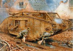 La lámina representa la destrucción de Bandit II - Fontaine, batalla de Cambrai 23 Noviembre 1917, infantes alemanes se acercan por el punto ciego del coloso de acero para destruirlo con bolsas de granadas de mano.