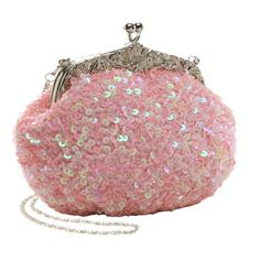 Amazon.com: Camila Glamorous Fashion Embroidered Pink Hand Seed Beaded and Sequined Fashion Evening Bag Small Clutch Purse w/ 2 Detachable Chains: Clothing
