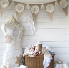Vintage Doily Burlap Banner by funkyshique on Etsy