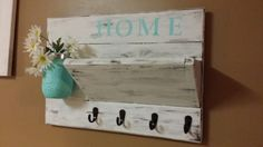 Rustic Home Decor key rack farmhouse decor Distressed Home Hanging Jars, Key Rack, Coat Hooks, Home Signs, Hostess Gifts, Rustic Wood, Farmhouse Decor, Handmade Gifts, Shelves