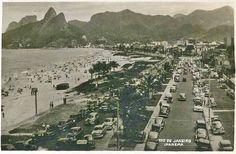 Início dos anos 50/ Postal /reprodução Avenida Vieira Souto à altura do atual Posto 10