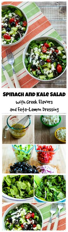 Spinach and Kale Salad with Greek Flavors and Feta-Lemon Vinaigrette has all the deliciousness that makes Greek Salad so popular with the nutritious addition of spinach and kale!  This salad is #LowCarb, #GlutenFree, and #SouthBeachDiet friendly  [from KalynsKitchen.com]