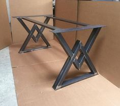 The Diamond Dining Table Base Industrial by MetalAndWoodDesign