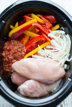 The perfect recipe for when youre short on time but still want a delicious real food dinner, Slow Cooker Fajita Salsa Chicken is a snap to prep and requires just a handful of ingredients. recipes for slow cooker Crock Pot Recipes, Crockpot Dishes, Slow Cooker Recipes, Beef Recipes, Cooking Recipes, Crock Pots, 5 Ingredient Crockpot Recipes, Sausage Recipes, Slow Cooking