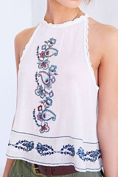 Ecote Eleanor Crochet-Trim Tank Top