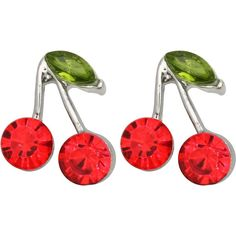 Kate Marie Silvertone Rhinestone Cherry Design Earrings found on Polyvore featuring jewelry, earrings, accessories, red, rhinestone earrings, round stud earrings, red rhinestone jewelry, red jewelry and clasp earrings
