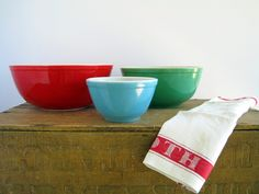 Pyrex Primary Colors Mixing Bowls Green Blue Colorful Kitchen Ovenware. $22.00, via Etsy.