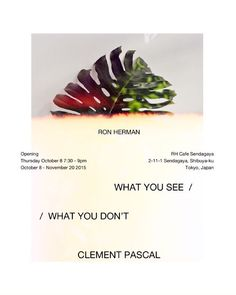 Tomorrow.  Please join us for WHAT YOU SEE / WHAT YOU DONT a new exhibition by our friend and collaborator Clement Pascal (@cgbp) via @thenewordermagazine Instagram